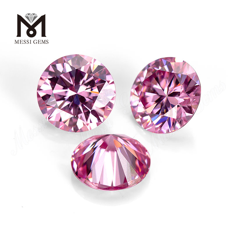 Messi Gems wholesale price loose gemstone manufacture machine cut color play or fire 0.5 carat 1 carat Round Pink Moissanite
