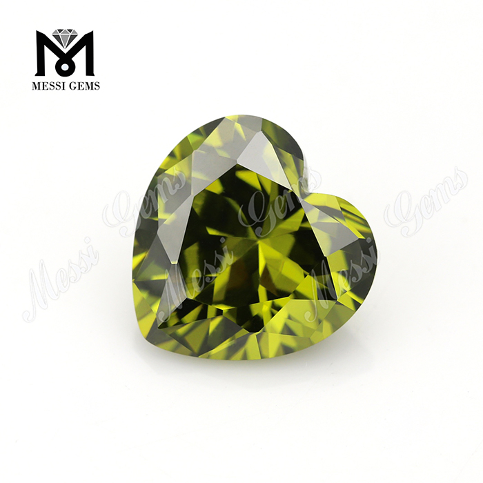 Loose Gemstone Heart cut 9mm Color play or fire Olive cubic zirconia