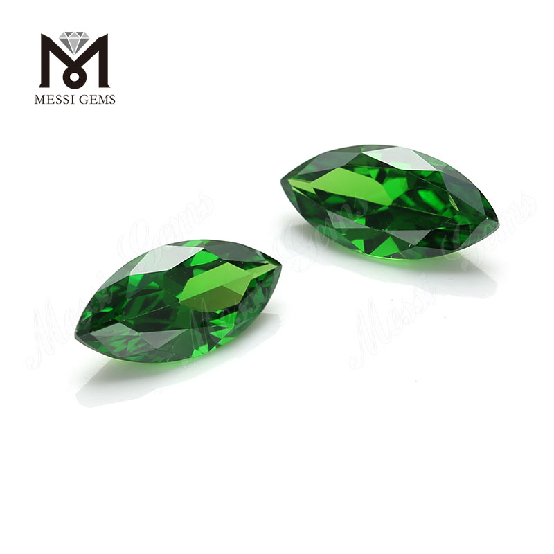 7x14mm loose marquise cut green cubic zirconia stone