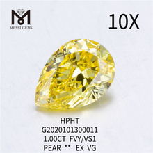 1ct FVY VS1 PEAR cut lab grown diamond EX