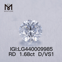 1.68 carat D VS1 IDEAL lab grown diamond Round