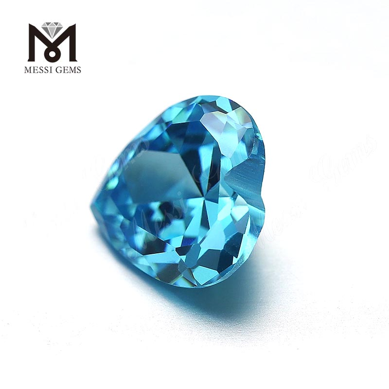 Loose Gemstone Heart cut 9mm Aquamarine cubic zirconia stones