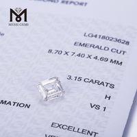 hpht lab created diamonds 3.15 carat H VSI1 EX white EMERALD CUT hpht