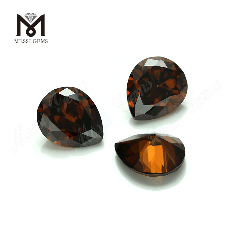 Factory price synthetic cubic zirconia gemstone pear cut 10x12mm offee cz