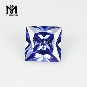 Square princess cut tanzanite color synthetic cubic zirconia stone