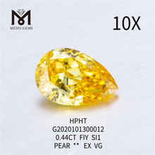 0.44ct FVY SI1 Pear cut lab grown diamond EX