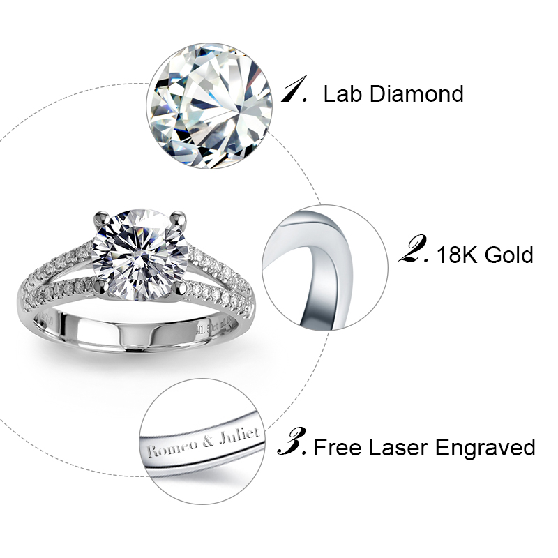 1.5ct lab grown diamond rings prongs setting engagement wedding ring in 14k 18k solid white gold