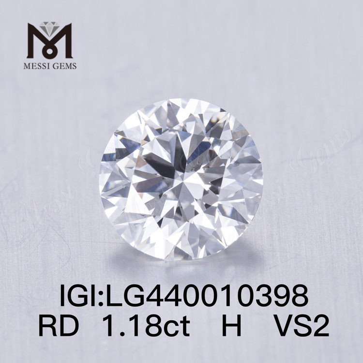 1.18 carat H VS2 3EX lab grown diamond Round