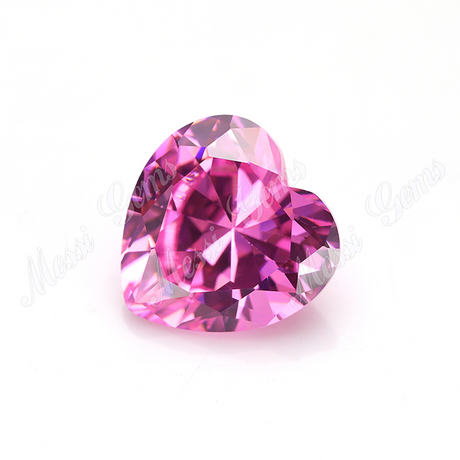 Loose factory machine cut heart shape pink cubic zirconia CZ stone