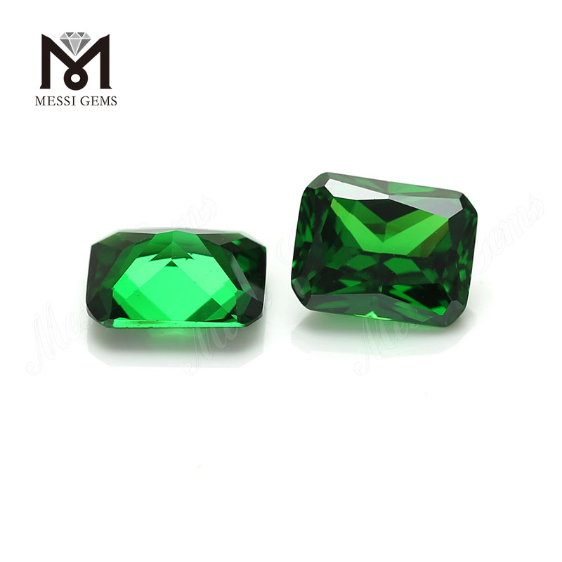 Top selling octagon cut 8x10mm wholesale cubic zirconia green cz gemstone
