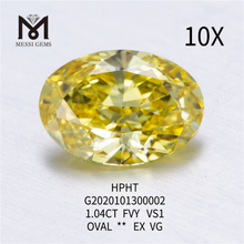 1.04ct FVY Oval cut lab grown diamond VS1