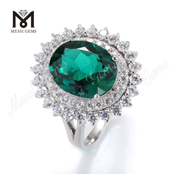 14k 18k emerald ring jewelry sun flower shape woman ring with emerald in gold jewelry wholesale