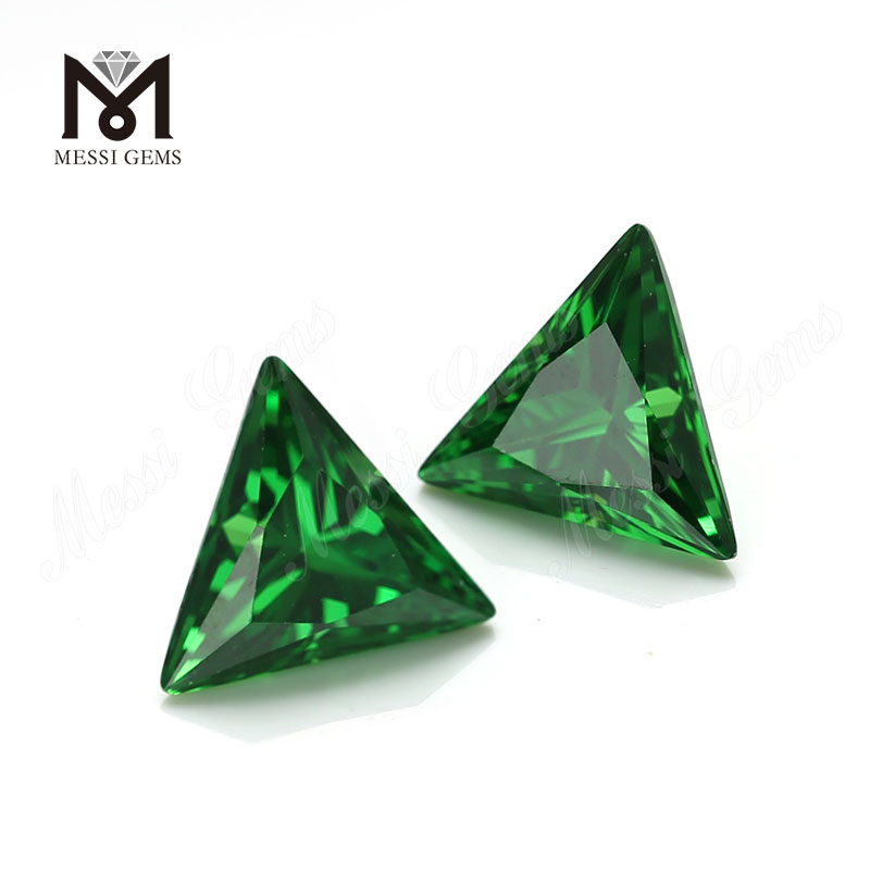 Wholesale Price Triangle Cut 9x9mm Green Cubic Zirconia Loose CZ Stone