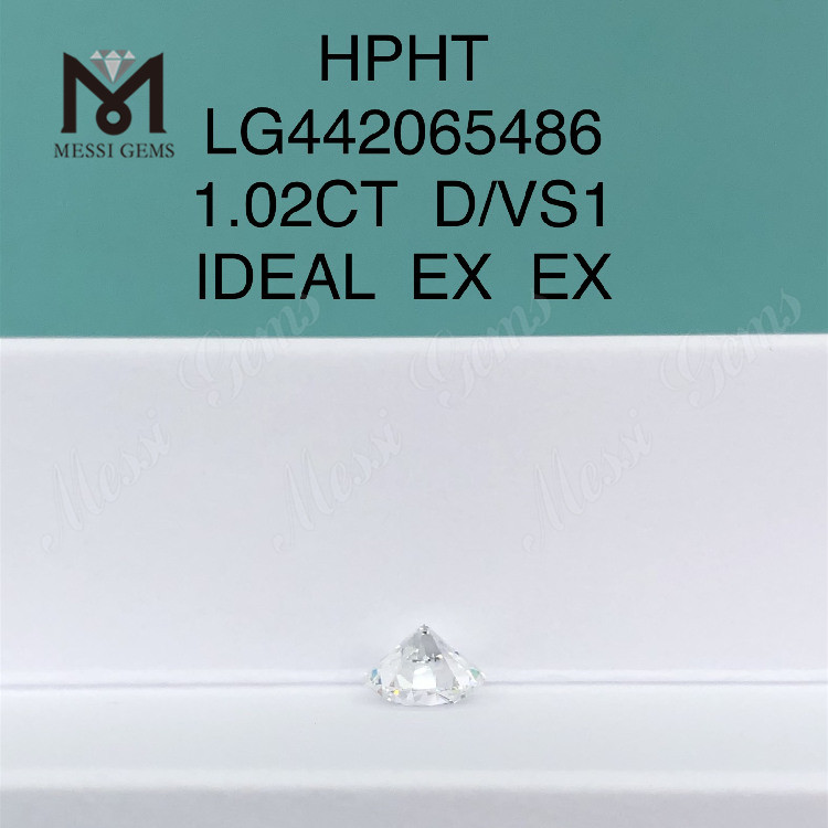 1.02 carat D VS1 Round lab grown diamond IDEAL