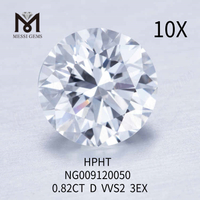 0.82CT Round D VVS2 3EX loose lab made diamond