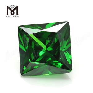 High quality color zircon square shape green CZ loose stones with low price