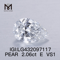 2.06 carat E/VS1 Pear lab grown diamond FAIR VG